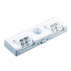 LEDライト センサーライト 人感センサー 足元灯 2灯式 電池式 可動 配線不要 屋内 自動点灯 ホワイト