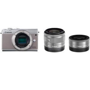 Canon製 EOS M100 ダブルレンズキット グレー【キャッシュレス還元と合わせて最大25%還...