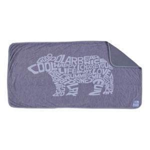 ソフトクール 接触冷感 ブランケット(POLAR BEAR)〈GLS-596B〉毛布 夏用掛け布団 北極熊 白クマ タイポグラフィ ひんやり 熱中症 熱帯夜 暑さ対策 寝具 の写真