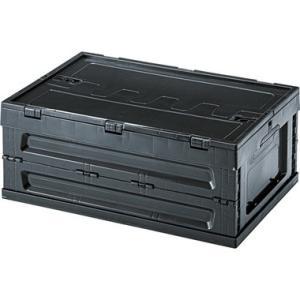 フォールディング コンテナ S(ブラック/黒)〈LFS-33BK〉折たたみ式 フタ付 フルオープンタ...