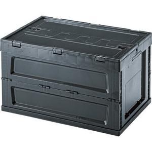 フォールディング コンテナ L(ブラック/黒)〈LFS-34BK〉折たたみ式 フタ付 フルオープンタ...