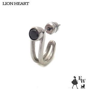 ライオンハートLION HEART ピアス ステンレス メンズ フープ 03EA0165SV シルバー ブラックCZ エクセルワールド プレゼント アクセサリー|excelworld