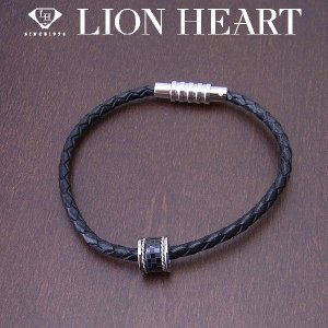 LION HEART ライオンハート ペアブレスレット メンズ レザー ブラック 04B121SM