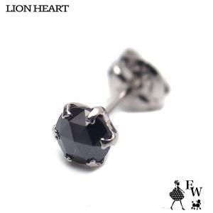 ライオンハートLION HEART ピアス プラチナ ブラックダイヤ 04E12PSM Mサイズ 0.25ct 片耳ピアス エクセルワールド メンズ プレゼント|excelworld