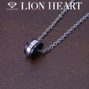 LION HEART ライオンハート ペアネックレス ステンレスライン メンズ サークルネックレス ブラック エクセルワールド アクセサリー ブランド プレゼントにも|excelworld