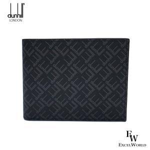 ダンヒル 財布 メンズ 21R2320LT 001 DUNHILL 二つ折り財布 小銭入れ付き シグネチャーキャンバス ブラック エクセルワールド ブランド プレゼントにも excelworld