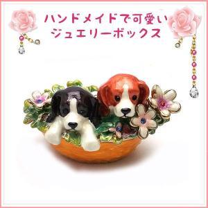 ジュエリーボックス(宝石箱)<br>フレンズ ドッグ 子犬の置物 286-1|excelworld