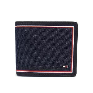 トミーヒルフィガー  財布 メンズ 二つ折り財布 TOMMY HILFIGER 31TL130075 200 小銭入れ付き デニム ネイビー×ブラウン|excelworld