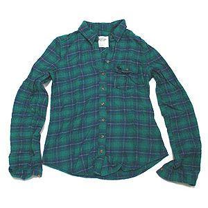Abercrombie&Fitch アバクロンビー&フィッチ シャツ Sサイズ ブルー グリーン レディース|excelworld
