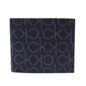 カルバンクライン 財布 Calvin Klein メンズ 二つ折り財布 79463 レザー モノグラム ブラック エクセルワールド ウォレット  ブランド プレゼントにも excelworld