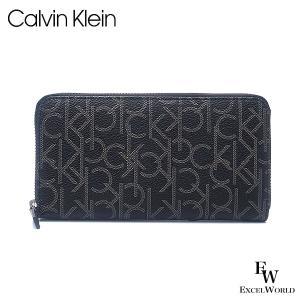 カルバンクライン メンズ 財布 長財布 Calvin Klein 79468 ラウンドジップ レザー ボックス付き ブラック excelworld