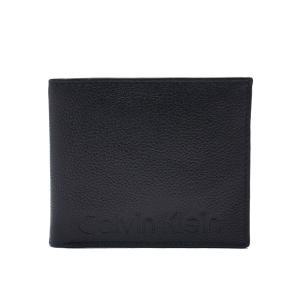 カルバンクライン 財布 Calvin Klein メンズ 二つ折り財布 79475 ペブルレザー モダン ロゴ ブラック エクセルワールド ウォレット  ブランド プレゼントにも excelworld
