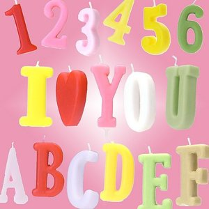 ナンバー キャンドル (1~10) & アルファベット キャンドル (A to Z) パステル カラー 全40種類|excelworld