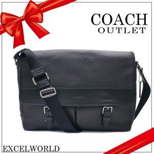 COACH コーチ アウトレット メンズ ショルダーバッグ ヘンリー ペブルド レザー メッセンジャー F54149 BLK ブラック|excelworld