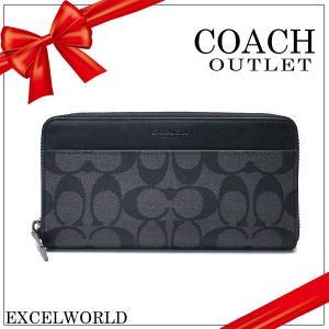 COACH コーチ アウトレット メンズ 長財布 アコーディオン ジップ アラウンド F58112 CQBK チャコール×ブラック|excelworld