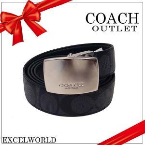 COACH コーチ アウトレット メンズ ベルト シグネチャー リバーシブル PVC レザー F64828 CQBK チャコール×ブラック|excelworld