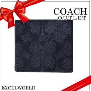 COACH コーチ アウトレット メンズ 二つ折り財布 コインケース シグネチャー ウォレット F75006 CQBK チャコール×ブラック|excelworld