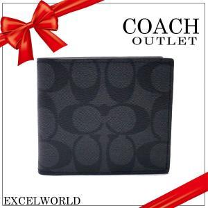 COACH コーチ アウトレット メンズ 二つ折り財布 シグネチャー  ダブルビル ウォレット F75083 CQBK チャコール×ブラック|excelworld