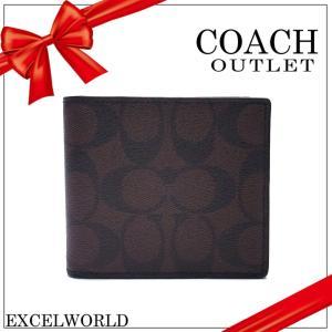 COACH コーチ アウトレット メンズ 二つ折り財布 シグネチャー  ダブルビル ウォレット F75083 MABR マホガニー×ブラウン|excelworld
