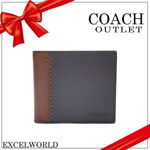 COACH コーチ アウトレット メンズ 二つ折り 財布 ベースボール ステッチ レザー コンパクト ID F75170 LOE フォグ×ダークサドル|excelworld