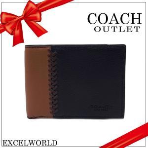 COACH コーチ アウトレット メンズ 二つ折り財布 ビルフォード ID ベースボール ステッチ レザー スリム F75178 BLK ブラック|excelworld