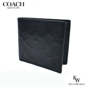 COACH コーチ アウトレット メンズ 二つ折り財布 コイン ウォレット シグネチャー F75363 BLK ブラック|excelworld
