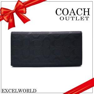 COACH コーチ アウトレット メンズ 長財布 ブレスト ポケット イン ウォレット シグネチャー クロスグレイン F75365 BLK ブラック|excelworld