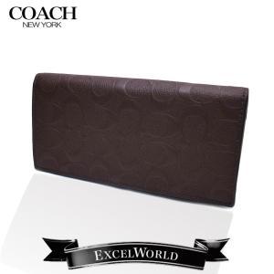 COACH コーチ アウトレット メンズ 長財布 ブレスト ポケット イン ウォレット シグネチャー クロスグレイン F75365 MAH マホガニー|excelworld