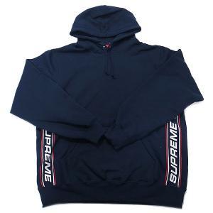 新品 シュプリーム Supreme メンズ ワークシャツ Supreme Text Rib Hooded Sweatshirt 直営店買付 本物 2019AW FW19SW16 NAVY ネイビー Lサイズ|excelworld
