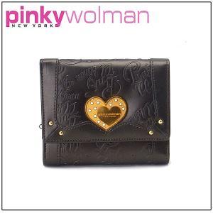 ピンキーウォルマン 三つ折り財布 PW32301-B ブラック|excelworld