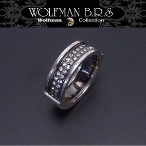WOLFMAN B.R.S ウルフマン リング ブラザーウルフ ブラックチタン ホワイトストーン R55BK エクセルワールド アクセサリー ブランド プレゼントにも|excelworld