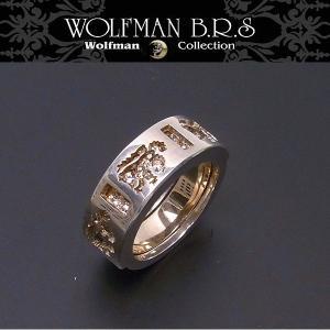 WOLFMAN B.R.S ウルフマン リング ブラザーウルフ ホワイトストーン R55PG エクセルワールド アクセサリー ブランド プレゼントにも|excelworld