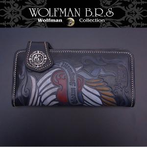 WOLFMAN B.R.S ウルフマン 長財布 セイクリッドブレード エンジェルハートウォレット ブラック W-NW-801bk|excelworld