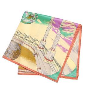 【SALE 30】manipuri マニプリ scarf シルクスカーフ 65×65 レディース 0111330008 TROMPE-LOEIL SAX exclusive