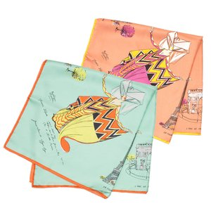 【SALE 10】manipuri マニプリ scarf シルクスカーフ 65×65 レディース0111330017 PARI GREEN ORANGE exclusive