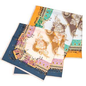 【SALE 30】manipuri マニプリ scarf シルクスカーフ 65×65 レディース 0111330018 CITY NAVY ORANGE exclusive