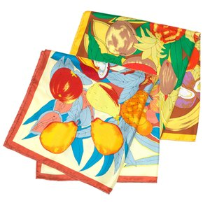 【SALE 30】manipuri マニプリ scarf シルクスカーフ 65×65 0111330019 レディースTROPICAL BROWN YELLOW exclusive