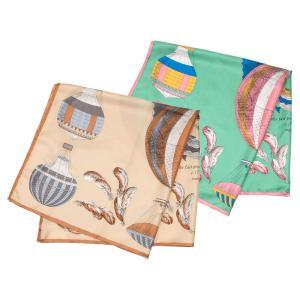 【SALE 30】manipuri マニプリ scarf シルクスカーフ 88×88 レディース0111330120 CLASSIC BALLOON BEIGE GREEN exclusive
