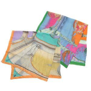 【SALE 10】manipuri マニプリ scarf コットンシルクストール 120×120 レディース0111333008 STOLE TOROMP LOEIL SAX ORANGE exclusive