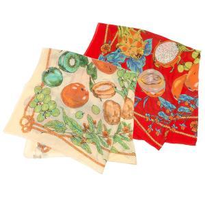 【SALE 30】manipuri マニプリ scarf コットンシルクストール 120×120 レディース0111333009 STOLE FRUIT BASKET BEIGE RED exclusive