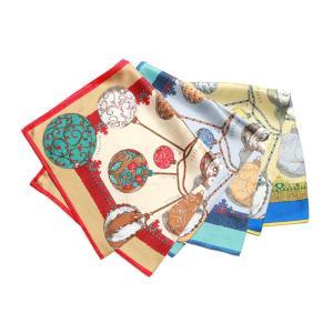 【SALE 30】manipuri マニプリ scarf シルクスカーフ 65×65 レディース 0103330011 planeta BROWN NAVY BLUE exclusive