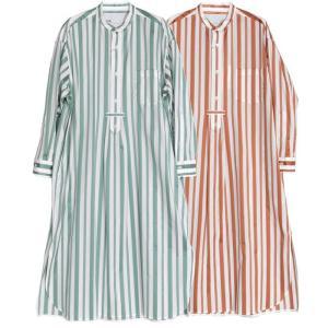【SALE 40】TICCA ティッカ ノーカラータックロングシャツ レディース 21春夏 GREEN BEIGE TBAS-134 exclusive
