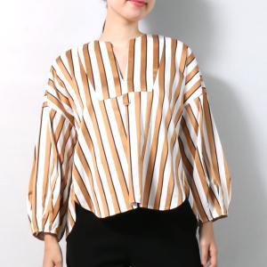 【SALE 40】TICCA ティッカ キーネックシャツ レディース  BEIGE PINK MULTI ST TBKA-181 exclusive