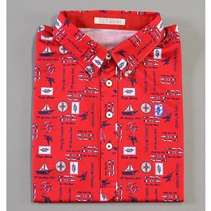 Fairy Powder フェアリーパウダー FP19-1106 Marine Print Polo Red|excorsgolf