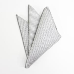 ポケットチーフ シルクジャカード ホワイトシルバー 小柄|excy
