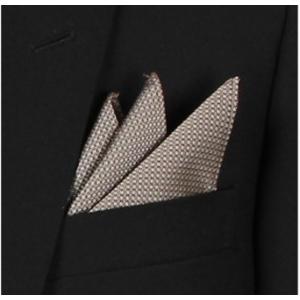ポケットチーフ シルクジャカード ブラウン 小柄|excy