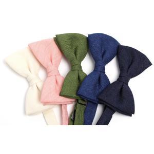 蝶ネクタイ HARRISONS リネン ネイビー/ブルー/グリーン/アイボリー/ピンク|excy