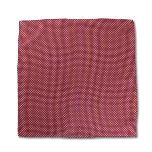 ポケットチーフ イタリアプリントシルク 小花柄 ブルー/ワインレッド|excy