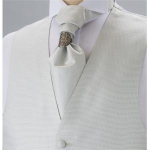 ベストセット EXCY FORMAL  メンズ フォーマルベストセット ホワイトグレー シルクジャカード 日本製|excy