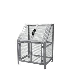 ジャンボメッシュST600(ミヅシマ工業) 内容量約600L 約900 × 700 × 1200mm 分別屑入 ゴミ箱 屑カゴ 施設用品 スチール製 ゴミ保管庫 お客様組立製品 exis